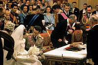 0152719 © Granger - Historical Picture ArchiveMARIAGE OF BAUDOUIN AND FABIOLA.   Wedding of king Baudouin 1st and Dona Fabiola de Mora y de Aragon (thus becoming queen Fabiola) in Brussels december 12, 1960. On l (orange): queen Elizabeth II of England and her husband prince consort Philip duke of Edinburgh. Full credit: AGIP - Rue des Archives / Granger, NYC -- All rights reserved.