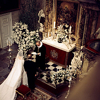 0152732 © Granger - Historical Picture ArchiveMARIAGE OF BENEDIKTE OF DANEMARK.   Wedding of princess Benedikte of Denmark and Richard, 6th Prince of Sayn-Wittgenstein-Berleburg, on february 3, 1968, Fredensborg Palace chapel. Full credit: AGIP - Rue des Archives / Granger, NYC -- All Rights Reserved.