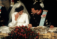 0152797 © Granger - Historical Picture ArchiveMARIAGE OF JOACHIM OF DANEMARK AND OF THE PRINCESSE ALEXANDRA.   Wedding of Joachim of Denmark and princess Alexandra at Fredensborg palace, november 18, 1995. Full credit: AGIP - Rue des Archives / Granger, NYC -- All rights reserved.