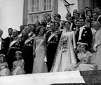 0152823 © Granger - Historical Picture ArchiveMARIAGE OF MARGUERITE OF DANEMARK.   Wedding of Princess Margrethe of Denmark (future queen Margrethe II) and prince Henrik (Henri de Laborde de Monpezat) june 10, 1967 here at Fredensborg castle. near the bride : her father king Frederik IX and her mother queen Ingrid of Denmark. Full credit: AGIP - Rue des Archives / Granger, NYC -- All rights reserved.