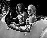 0152950 © Granger - Historical Picture ArchiveMARIANNE FAITHFULL.   singers Mick Jagger and Marianne Faithfull in yellow convertible sports car in London may 29, 1969 they appeared before court for drug affair. Full credit: AGIP - Rue des Archives / Granger, NYC -- All rights reserved.