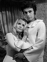 0153019 © Granger - Historical Picture ArchiveMARIE FRANCE BOYER AND DANIEL MOOSMANN.   Marie France Boyer aux studios d'Epinay entre deux scene de Une fille nommee amour le 14 fevrier 1968 Marie France Boyer and Daniel Moosmann at Epinay studios during Une fille nommee amour (a girl called Love) film set, February 14, 1968. Full credit: AGIP - Rue des Archives / Granger, NYC -- All rights reserved.