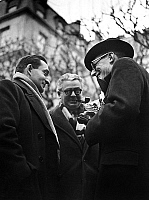 0153694 © Granger - Historical Picture ArchiveMAURICE SCHUMANN AND PIERRE MENDES FRANCE.   Maurice Schumann , Pierre Mendes-France and Yves Farge during the ministerial crisis the 25th january 1946. Full credit: AGIP - Rue des Archives / Granger, NYC -- All rights reserved.