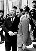 0153739 © Granger - Historical Picture ArchiveMAUROY AND FABIUS.   former french prime minister Pierre Mauroy greeting his successor Laurent Fabius for transfer of powers july 18, 1984. Full credit: AGIP - Rue des Archives / Granger, NYC -- All Rights Reserved.