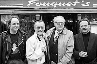 0153759 © Granger - Historical Picture ArchiveMAXIME THE FORESTIER.   members of the jury of the GeorgesBrassens Days (french song days in memory of french singer GeorgesBrassens) march 20, 1990 in front of the Fouquet's restaurant in Paris. Full credit: AGIP - Rue des Archives / Granger, NYC -- All Rights Reserved.