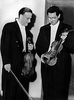 0153837 © Granger - Historical Picture ArchiveMENUHIN AND SCHNEIDERHAN.   violinists Yehudi Menuhin and Wolfgang Schneiderhan at Vienna festival june 16,1953. Full credit: AGIP - Rue des Archives / Granger, NYC -- All rights r
