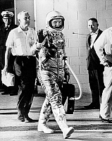 0153849 © Granger - Historical Picture ArchiveJOHN GLENN (1921-2016).  American astronaut and politician. Before departure aboard Friendship 7 at Cape Canaveral in Florida. Photograph, 20 February 1962. Full credit: AGIP - Rue des Archives / Granger, NYC.  All Rights Reserved.