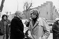 0154061 © Granger - Historical Picture ArchiveMICHEL FOUCAULT.   french philosopher Michel Foucault and journalist Maurice Clavel in front of the Renault factory after the murder of Pierre Overney february 28, 1972 France. Full credit: AGIP - Rue des Archives / Granger, NYC -- All righ