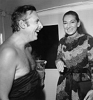 0154339 © Granger - Historical Picture ArchiveMICHEL SERRAULT FELICITE PAR MARIA CALLAS.   Michel Serrault congratulated by Maria Callas in his dressing room on september 22, 1970. Full credit: AGIP - Rue des Archives / Granger, NYC -- All Rights Reserved.