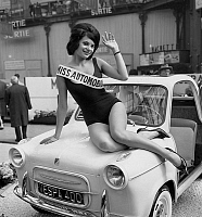 0154785 © Granger - Historical Picture ArchiveMISS AUTOMOBILE.   Lydiane Huet elected Miss Automobile 1960 presenting a Vespa at Paris car fair on october 1960. Full credit: AGIP - Rue des Archives / Granger, NYC -- All rights
