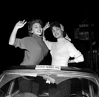 0154831 © Granger - Historical Picture ArchiveMISS FRANCE 1956 : MARYSE FABRE (1) AND GISELE CHARBIT (2).   Miss France 1956, january 10, 1956 : Maryse Fabre (l, Miss France 1956 during 2 days) and Gisele Charbit (new Miss France 1956). Full credit: AGIP - Rue des Archives / Granger, NYC -- All Rights Reserved.