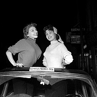 0154834 © Granger - Historical Picture ArchiveMISS FRANCE 1956 : MARYSE FABRE (1) AND GISELE CHARBIT (2).   Miss France 1956, january 10, 1956 : Maryse Fabre (l, Miss France 1956 during 2 days) and Gisele Charbit (new Miss France 1956). Full credit: AGIP - Rue des Archives / Granger, NYC -- All Rights Reserved.