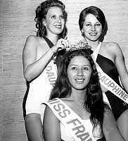 0154902 © Granger - Historical Picture ArchiveMISS FRANCE 1974.   Edma Tepava (Miss Tahiti) new Miss France 1974 with her Dauphins Josyane Bouffente (Miss Val de Marne) and Martine Calzavarra (Miss Lot et Garonne) december 28, 1973. Full credit: AGIP - Rue des Archives / Granger, NYC -- All Rights Reserved.