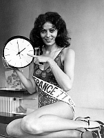 0154906 © Granger - Historical Picture ArchiveMISS FRANCE 1977.   Veronique Fagot, Miss France 1977, march 31, 1977 indicating daylight saving time. Full credit: AGIP - Rue des Archives / Granger, NYC -- All rights reserved.
