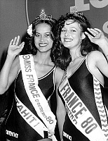 0154920 © Granger - Historical Picture ArchiveMISS FRANCE 1980.   Patricia Barzyk , Miss France 1980 (righte) with Thilde Fuller, Miss Overseas France1980 december 28, 1979. Full credit: AGIP - Rue des Archives / Granger, NYC -- All Rights Reserved.