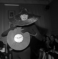 0155274 © Granger - Historical Picture ArchiveMODE FATH.   Fashion accessories by Jacques Fath : Jalousie hat and Watch bag, january 27, 1955. Full credit: AGIP - Rue des Archives / Granger, NYC -- All rights reserved.