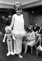 0155303 © Granger - Historical Picture ArchiveMODE FEMME ENCEINTE.   Pregnant woman fashion : evening dress presented during special show, on front row is Marianne Faithfull pregnant october 30, 1965. Full credit: AGIP - Rue des Archives / Granger, NYC -- All rights reserved.