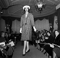 0155464 © Granger - Historical Picture ArchiveMODE LEMPEREUR.   Lempereur fashion show in Paris on december 3, 1957 : coat. Full credit: AGIP - Rue des Archives / Granger, NYC -- All Rights Reserved.