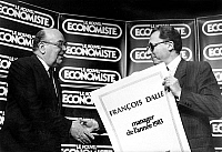 0155766 © Granger - Historical Picture ArchiveMR JACQUES DELORS.   Mr Jacques Delors (minister of Economy and Finance) give to Mr Francois Dalle the diploma of Manager of the year 11/10/1983. Full credit: AGIP - Rue des Archives / Granger, NYC -- All rights reserved.