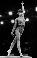 0155835 © Granger - Historical Picture ArchiveNADIA COMANECI.   Nadia Comaneci, romanian gymnast, during exercises on the beam, april 6, 1979. Full credit: AGIP - Rue des Archives / Granger, NYC -- All rights reserved.