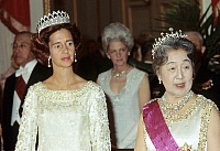 0155861 © Granger - Historical Picture ArchiveNAGAKO KUNI AND FABIOLA OF BELGIQUE.   Visit of japanese sovereigns in Belgium, october 1st, 1971 : empress of Japan Nagako Kuni and queen Fabiola of Belgium. Full credit: AGIP - Rue des Archives / Granger, NYC -- All rights reserved.