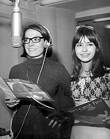 0155896 © Granger - Historical Picture ArchiveNANA MOUSKOURI AND CHANTAL KELLY.   singers Nana Mouskouri and Chantal Kelly during songs recording session for April Fool's Day march 30, 1966. Full credit: AGIP - Rue des Archives / Granger, NYC -- All rights reserved.