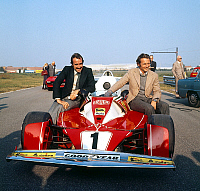 0156129 © Granger - Historical Picture ArchiveNIKI LAUDA.   Niki Lauda and Clay Regazzoni at presentation of the new Ferrari racing car october 30, 1975. Full credit: AGIP - Rue des Archives / Granger, NYC -- All rights reserv