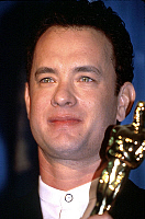 0156520 © Granger - Historical Picture ArchiveOSCARS 1995.   Tom Hanks with best actor Academy Awards for his part in film Forrest Gump 1995. Full credit: AGIP - Rue des Archives / Granger, NYC -- All rights reserved.
