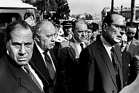 0156729 © Granger - Historical Picture ArchivePASQUA AND CHIRAC.   french prime minister Jacques Chirac followed by french minister of Interior Charles Pasqua and Robert Pandraud july 09, 1986 going to the headquarters of the detective division of the French police force in Paris after bomb attack. Full credit: AGIP - Rue des Archives / Granger, NYC -- All Rights Reserved.