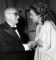 0156924 © Granger - Historical Picture ArchivePAUL CLAUDEL AND EDWIGE FEUILLERE, 1948.   Paul Claudel with his actress Edwige Feuillere at premiere of play Partage de midi december 07, 1948 in Paris. Full credit: AGIP - Rue des Archives / Granger, NYC -- All rights reserved.