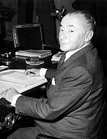 0157055 © Granger - Historical Picture ArchivePAUL REYNAUD.   Paul Reynaud at his desk after transmission of powers for the post of minister of Finances july 27, 1948. Full credit: AGIP - Rue des Archives / Granger, NYC -- All Rights Reserved.