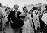 0157068 © Granger - Historical Picture ArchivePAUL RICARD.   Michele Ricard, on Paul Ricard's arm (her father), arriving at the church of Saintes Maries de la mer (south of France) where she's going to marry Firmin Diaz on october 24, 1970. Full credit: AGIP - Rue des Archives / Granger, NYC -- All Rights Reserved.
