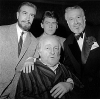 0157396 © Granger - Historical Picture ArchivePHOTO FINISH.   At Ambassadeurs in Paris, comedy by PeterUstinov Photo Finish where 4 actors play the same character Sam at 4 ages of his life : here Bernard Blier (c, 80 years old) and l-r : Guy Trejan (40), Robert Benoit (20), Pierre Flaurent (60) january 12, 1964. Full credit: AGIP - Rue des Archives / Granger, NYC -- All rights reserved.
