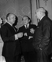 0157436 © Granger - Historical Picture ArchivePIERRE BALMAIN.   Centenary of french paper Figaro : l-r : Pierre Balmain, Michel Goma and Jacques Heim october 14, 1966. Full credit: AGIP - Rue des Archives / Granger, NYC -- All Rights Reserved.
