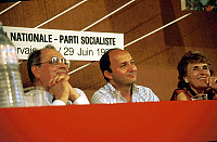 0157472 © Granger - Historical Picture ArchivePIERRE BEREGOY.   Pierre Beregoy, Laurent Fabius et Edith Cresson at congress of socialist party in Paris june 1986. Full credit: AGIP - Rue des Archives / Granger, NYC -- All righ
