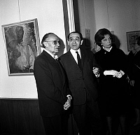 0157697 © Granger - Historical Picture ArchivePIERRE MENDES FRANCE.   Pierre Cot and Pierre Mendes-France at the exhibition of his late wife Lily's paintings at AndreWeil gallery in Paris november 14, 1968 (one year after her death). Full credit: AGIP - Rue des Archives / Granger, NYC -- All Rights Reserved.
