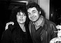 0157815 © Granger - Historical Picture ArchivePIERRE PERRET AND SA FEMME REBECCA.   Pierre Perret and his wife Rebecca at Bobino in Paris after concert for his 25 years of song, march 1st, 1984. Full credit: AGIP - Rue des Archives / Granger, NYC -- All rights reserved.
