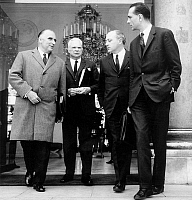 0158026 © Granger - Historical Picture ArchivePOMPIDOU AND CHIRAC.   French prime minister Georges Pompidou with Roger Frey (state minister) Roland Nungesser (estate secretary assistant for economy and finances) and Jacques Chirac (estate secretary for social affairs in charge for employment issues) leaving Elysee palace after ministers council april 19, 1968. Full credit: AGIP - Rue des Archives / The