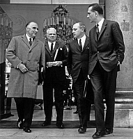 0158042 © Granger - Historical Picture ArchivePOMPIDOU, FREY, NUNGESSER AND CHIRAC.   Georges Pompidou, Roger Frey, Roland Nungesser and Jacques Chirac leaving Elysee palace after council of ministers april 19, 1967. Full credit: AGIP - Rue des Archives / Granger, NYC -- All rights res