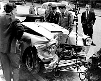 0158066 © Granger - Historical Picture ArchivePORFIRIO RUBIROSA.   Porfirio Rubirosa's Ferrari car after the car crash that caused his death in the Boulogne wood, France july 05, 1965. Full credit: AGIP - Rue des Archives / Granger, NYC -- All Rights Reserved.