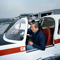 0158148 © Granger - Historical Picture ArchivePRINCE CLAUS.   prince Klaus of Holland learning how to fly here at Lelystad airport january 23, 1984. Full credit: AGIP - Rue des Archives / Granger, NYC -- All rights reserved.