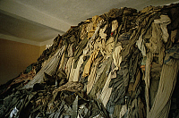 0158208 © Granger - Historical Picture ArchivePRISON AU CAMBODGE.   Pile of clothes in jail of Tuel Sleng in Cambodia where Red Khmers (communist rebels) shut their victims, april 1985. Full credit: AGIP - Rue des Archives / Granger, NYC -- All Rights Reserved.