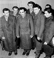 0158212 © Granger - Historical Picture ArchivePRISONNIERS DU FLN.   Release of the six french soldiers prisoners from FLN nationalist algerian organization february 21, 1959 l-r Jean Coulos, Francois Fournier, Maurice Morel, Gilbert Filieu, Yvon Jacquet, Lucien Louvet. Full credit: AGIP - Rue des Archives / Granger, NYC -- All rights reserved.