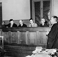 0158232 © Granger - Historical Picture ArchivePROCES FRANCE D'ABORD.   Jacques Friedland, Bernard Jouenne, Yves Moreau and captain Rene Azema , former members of France d'abord one of the newspapers of the french resistance, here during the trial of the collaborators of newspaper France d'abord on military court january 09, 1951. Full credit: AGIP - Rue des Archives / Granger, NYC -- All rights reserved