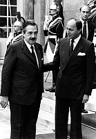 0158507 © Granger - Historical Picture ArchiveRAUL ALFONSIN AND LAURENT FABIUS.   Raul Alfonsin, argentinian president, with Laurent Fabius, french prime minister, september 19, 1985. Full credit: AGIP - Rue des Archives / Granger, NYC -- All Rights Reserved.