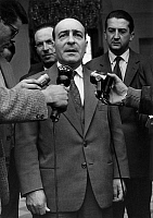0158913 © Granger - Historical Picture ArchiveRENE BILLERES.   Rene Billeres, former french minister of education, explaining journalists why he doesn't want to form a government, may 8, 1958. Full credit: AGIP - Rue des Archives / Granger, NYC -- All rights reserved.
