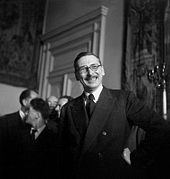 0159009 © Granger - Historical Picture ArchiveRENE PLEVEN.   Rene Pleven, french minister of Finances, on june 2, 1945. Full credit: AGIP - Rue des Archives / Granger, NYC -- All Rights Reserved.