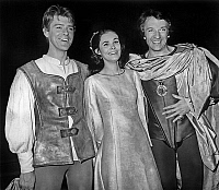 0159297 © Granger - Historical Picture ArchiveROBERT BENOIT, FRANCINE RACETTE AND JEAN PIERRE CASSEL.   During rehearsal in Paris of play Romeo and Juliet : l-r : Robert Benoit Francine Racette and Jean-Pierre Cassel april 17, 1968. Full credit: AGIP - Rue des Archives / Granger, NYC -- All Rights Reserved.