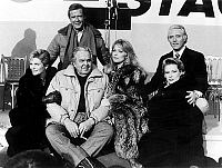 0159565 © Granger - Historical Picture ArchiveROGER MOORE.   Roger Moore (James Bond), Alison Doody, producer Albert Cubby Brocoli, Fiona Fullerton, Tanya Roberts and Christopher Walken at opening of movie studio january 9, 1985. Full credit: AGIP - Rue des Archives / Granger, NYC -- All Rights Reserved.