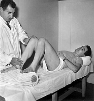 0159605 © Granger - Historical Picture ArchiveROGER RIVIERE.   Roger Riviere will do his first time out since his serious fall during France cycling race, here having a massage by Emile Wauono , 1960. Full credit: AGIP - Rue des Archives / Granger, NYC -- All rights reserved.